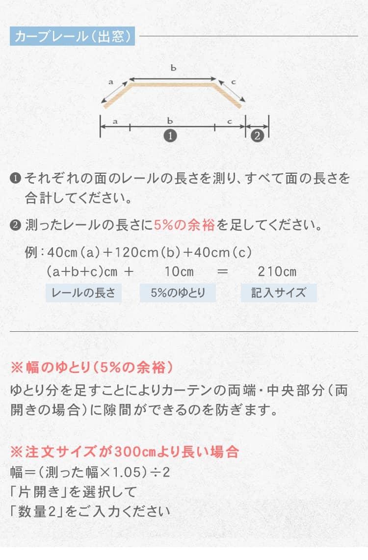 カーブレールの横幅の測り方