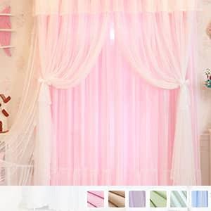 三層レースのふわふわ姫系カーテン