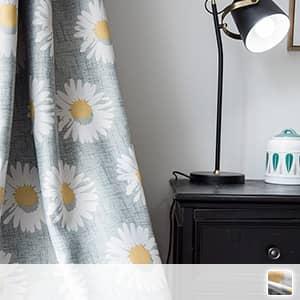 可愛いひまわり柄のドレープカーテン