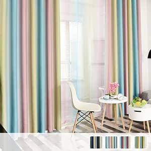 虹みたいなストライプ柄のドレープカーテン