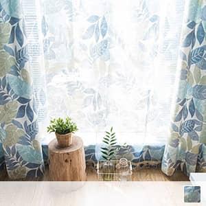 爽やかなボタニカル風レースカーテン