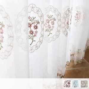 洋風花刺繍のレースカーテン