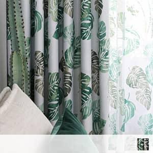 北欧風の植物柄ドレープカーテン