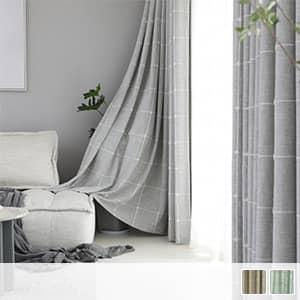 シンプルで北欧テイストのチェック柄ドレープカーテン