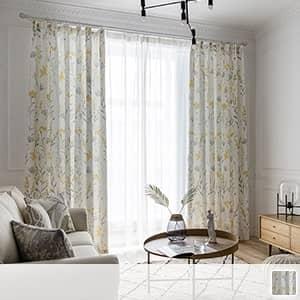 水墨風花柄のドレープカーテン
