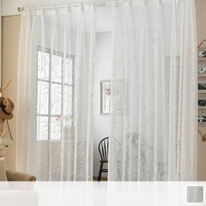 ボタニカル刺繍のレースカーテン