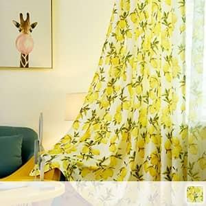 南国風のレモン柄ドレープカーテン