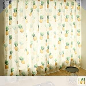 南国風パイナップル柄のドレープカーテン