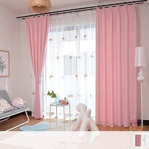 可愛い虹刺繍のレースカーテンとピンクドレープカーテンを組み合わせたレース付きセットカーテン