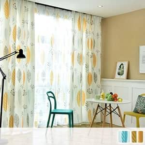 北欧風リーフデザインのカーテン