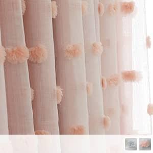ふわふわな立体ドットが付いている一体型姫系カーテン