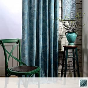 藍染めの和風ドレープカーテン
