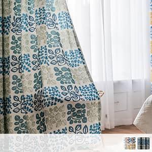ドレープカーテン,明るいリーフモチーフ柄