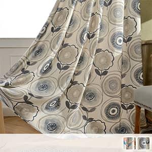 ドレープカーテン,明るい幾何柄プリント