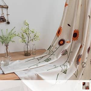 ドレープカーテン、可愛いひまわり刺繍