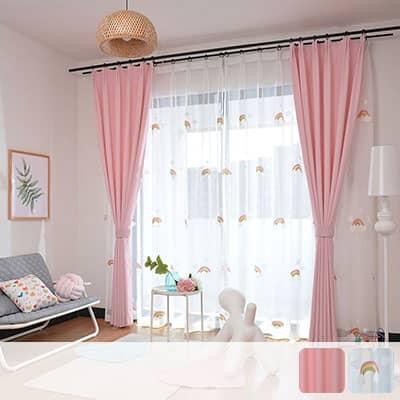 ピンクのドレープとキュートな虹を刺繍されたレースのカーテンセット