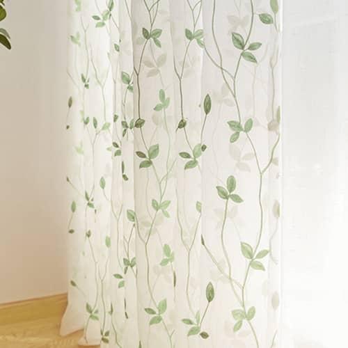 ボタニカルなリーフを刺繍されたデザインレースカーテン