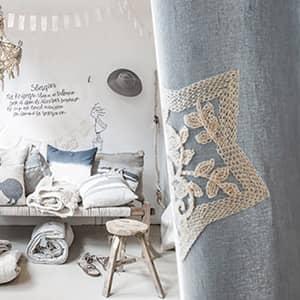 カジュアルな星刺繍カーテン